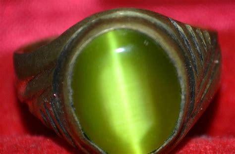 Cincin Cat Hijau Bulat mistik ajaib cincin batu mata hijau ikat