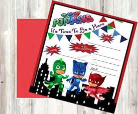 12 pj masks birthday invitations 12 5x7in cards 12 matching white envelopes dealtrend