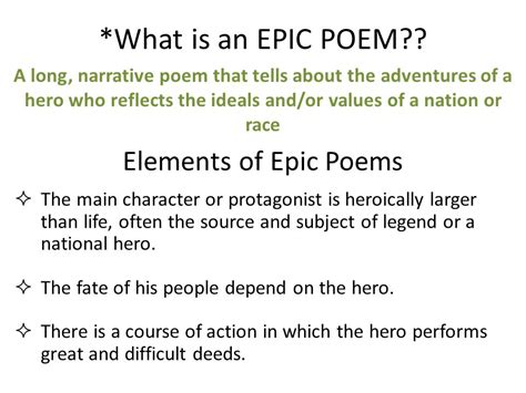 what is an epic poem elements of epic poems ppt