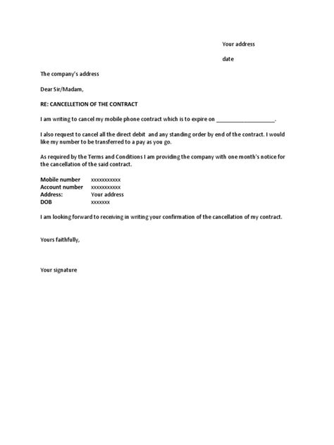 letter format for cancellation of telephone connection mobile phone cancellation letter