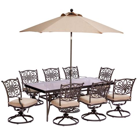 Hanover 9 Piece Outdoor Dining Set with Rectangular Glass