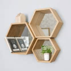 hexagon mirror shelves by design