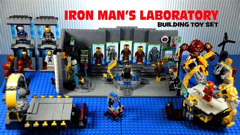 lego iron mans laboratory suit gantry building set
