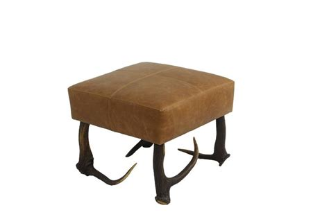 Brown Leather Ottoman For Sale Brown Leather And Stag Antler Chair With Matching