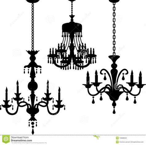 Vintage Crystal Chandeliers Antique Chandelier Silhouettes Eps Stock Vector Image