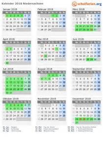 Kalender Mit Ferien 2018 Kalender 2018 Ferien Niedersachsen Feiertage