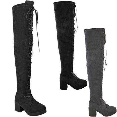 ladies lace up biker boots womens ladies over the knee boots lace up block heel thigh