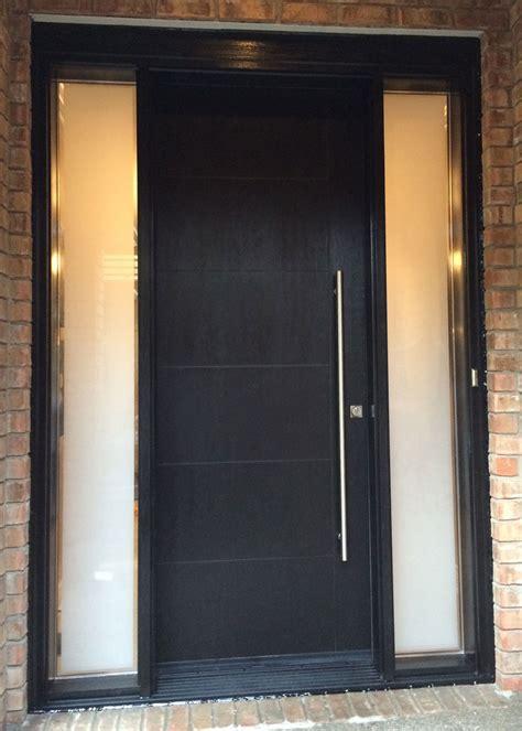 modern rustic woodgrain fiberglass entry door