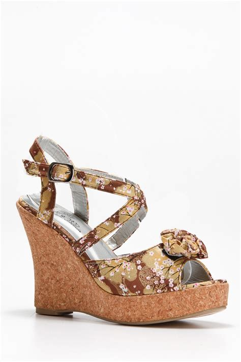Maxi Rosita Belt floral cork wedge cicihot wedges shoes store wedge shoes