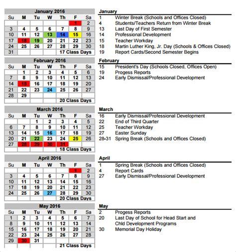 school calendar 7 free sles exles format