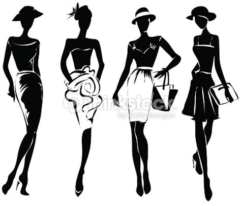 black and white fashion pattern black and white retro fashion models in sketch style