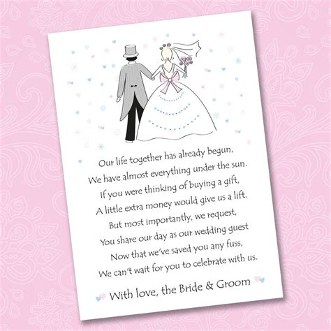 wedding money gift 25 x wedding poem cards for your invitations ask politely for money gift weddings