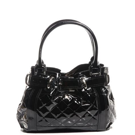 Burberry Quilted Patent Beaton Shopper by Burberry Patent Quilted Beaton Tote Black 77490
