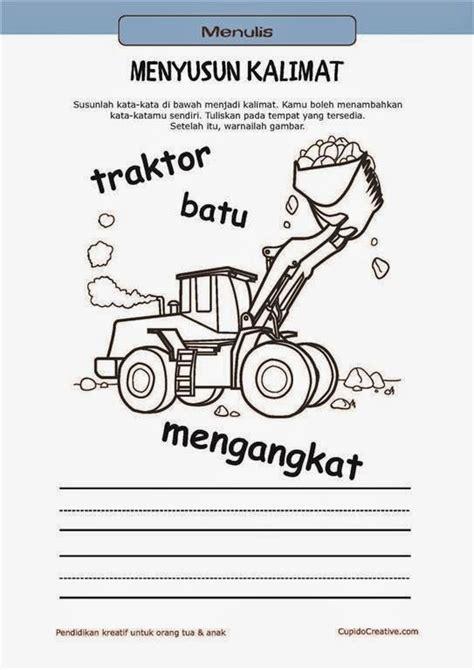 belajar membaca menulis anak tk sd menyusun kata menjadi kalimat mewarnai gambar traktor