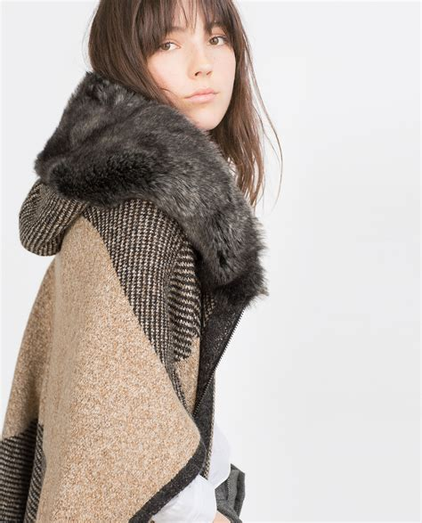 poncho with faux fur hood outerwear woman sale
