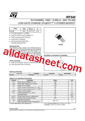 transistor irf 540 irf540 datasheet pdf stmicroelectronics