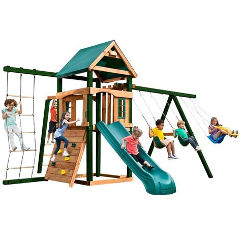 home depot swing n slide swing n slide playsets acrobat wood complete playset 4367