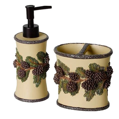 pine cone bathroom accessories pine cone shower curtain and valance cabin place
