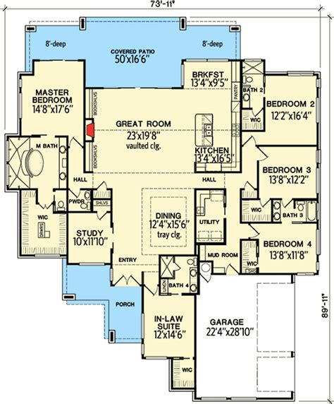 House Plans With In Suite by 4 Bedroom Modern With In Suite 31185d