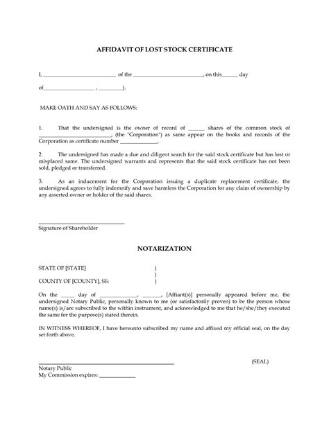 Missing Certificate Letter Indemnity Affidavit Of Lost Stock Certificate Go Search For Tips Tricks Cheats Search At