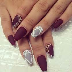 Brown and burgundy nail designs