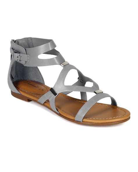 grey gladiator sandals shoes breckelles cb02 leatherette strappy cut out