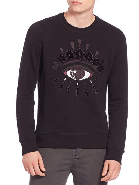 kenzocotton sweatshirt kenzo eye icon embroidered cotton sweatshirt in black for