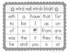 introduction bingo template kindergarten sight words kindergarten sight words list
