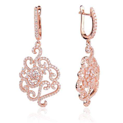 flower design gold earrings ingenious rose gold chandelier earrings with pave flower