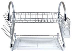 chrome kitchen dish cup drying rack drainer dryer tray