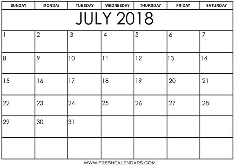 printable calendars july july 2018 printable calendar templates