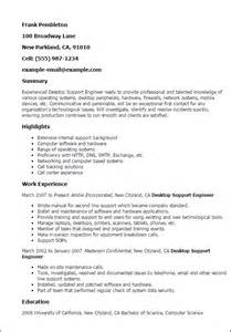 Resume Technical Support Engineer Professional Desktop Support Engineer Templates To