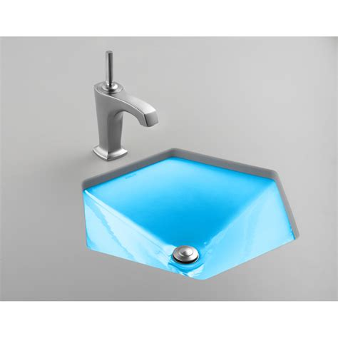 hexagon bathroom sink shop kohler votive vapour blue cast iron undermount