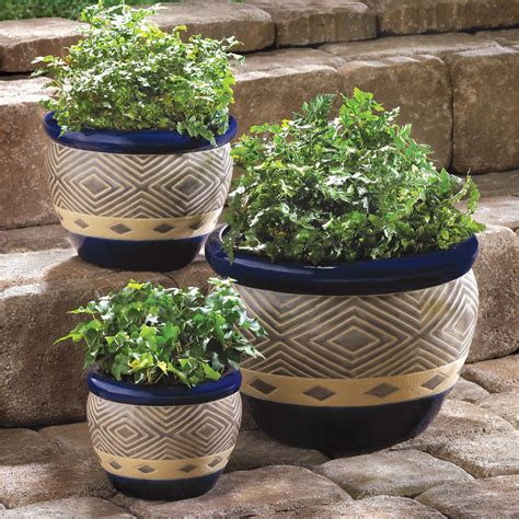 Garden Pots Planters by Cobalt Planters 3pc Ceramic Garden Plant Flower Pot Set Ebay