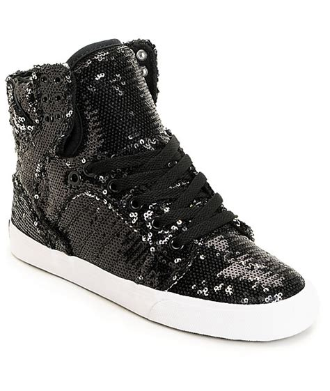 black sequin shoes supra x a morir womens skytop black sequin shoes zumiez