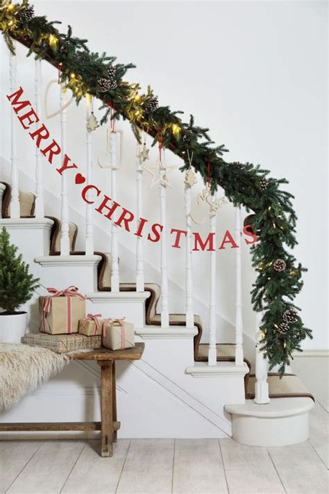 christmas lights for stair banisters 35 amazing christmas staircase with banister ornaments