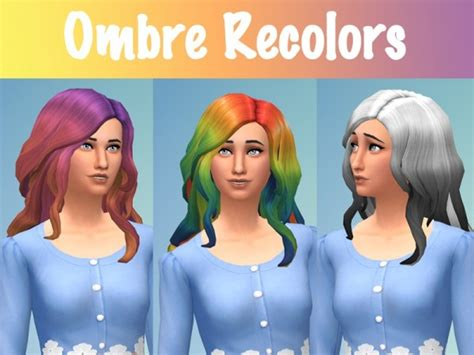 sims 4 ombre hair sims 4 hairs the sims resource curly ombre recolors by