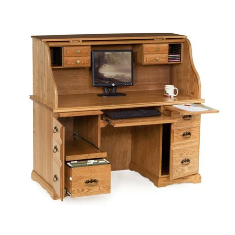 55 quot roll top computer desk amish 55 quot roll top computer