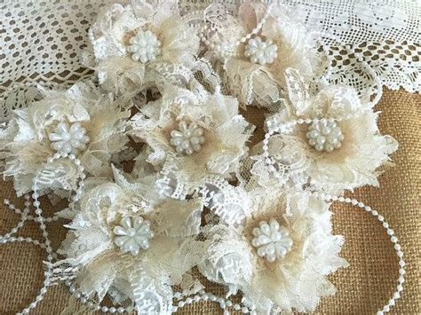 Handmade Lace Flowers - 7 shabby chic ivory and honey color lace handmade flowers