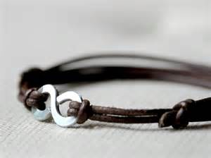 Leather Infinity Bracelet Infinity Bracelet Brown Leather And Aluminium And Unisex
