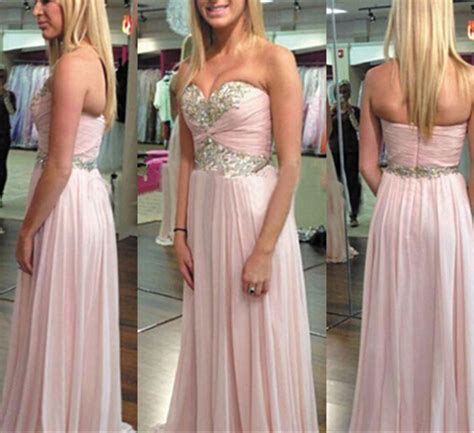 Chiffon Prom Dresses,Pearl Pink Evening Dress,Sweetheart