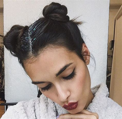 hairstyles space buns gizele oliveira space buns glitter hair inspiration