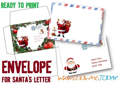 free printable letters and envelopes from santa free printable letter to santa claus envelope template craft