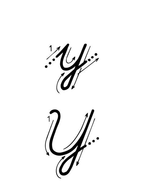 lettere alfabeto in corsivo maiuscolo e minuscolo lettere e numeri lettera y con indicazioni movimento