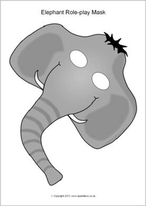 printable elephant mask template elephant role play mask template color or black white