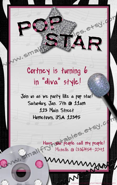 printable pop star party invitations girls personalized pop star diva zebra karaoke by