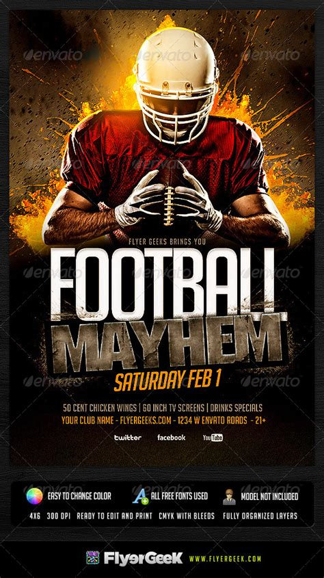 free football flyer templates football flyer template psd graphicriver