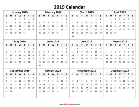 Yearly Calendar 2019 Free Download And Print 2019 Calendar Template Word