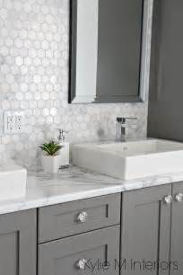White Vanity Gray Tile White Hex Floor Tile Color Search Bathrooms