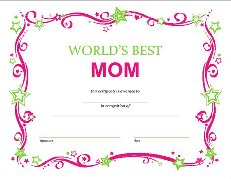 s day certificate free mothers day printable certificate
